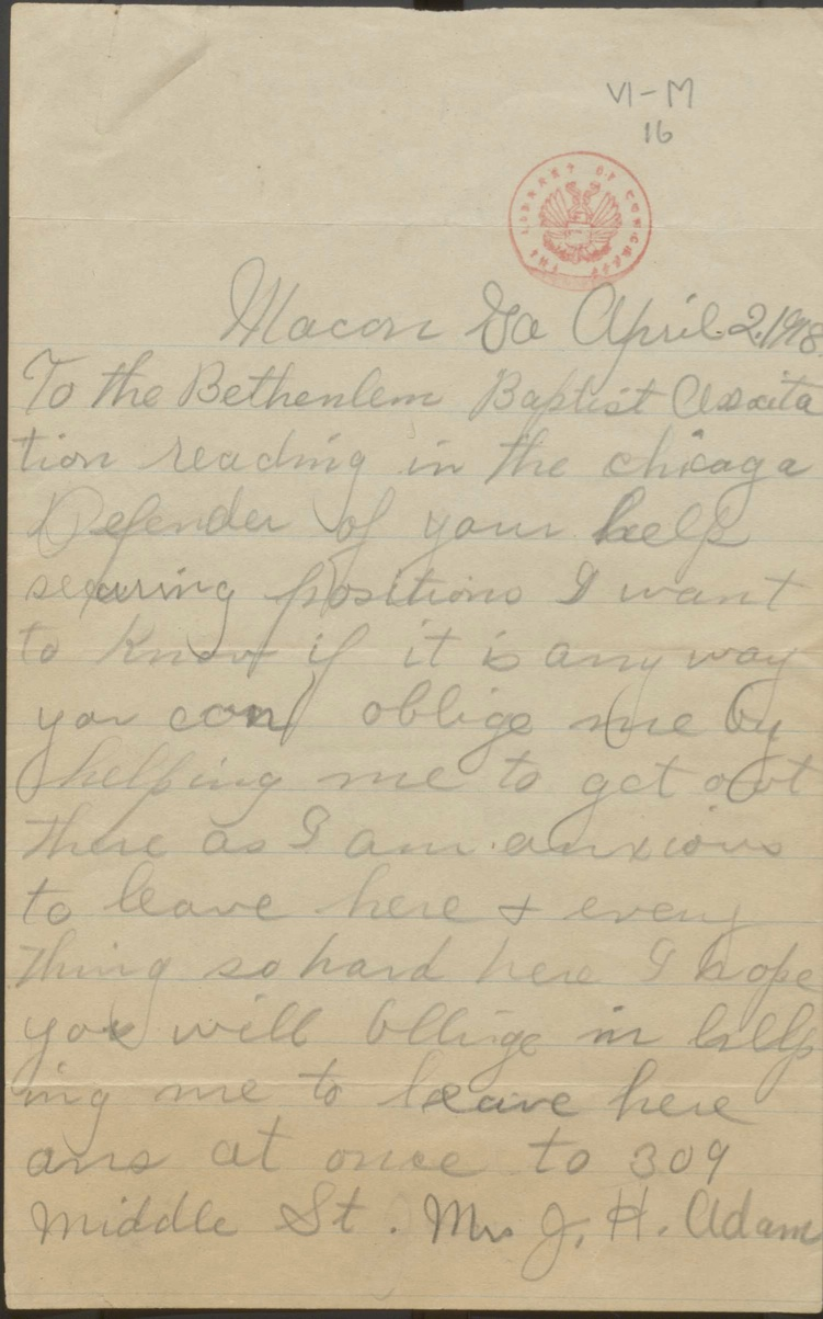 Letter from Mrs. J. H Adams, Macon, Georgia, to the Bethlehem Baptist Association in Chicago, Illinois, 1918. Carter G. Woodson Papers, Manuscript Division